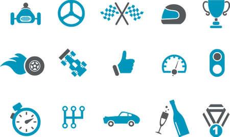 bandera carrera: Pack de iconos - serie azul, colecci�n de carreras de vectores  Vectores