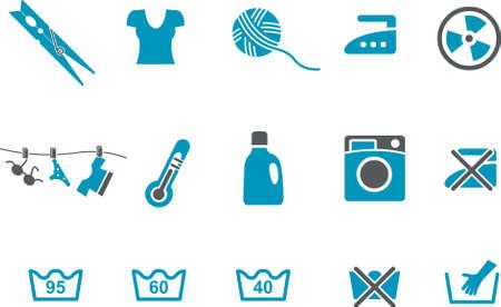lejia: Iconos Vector pack - Serie Azul, lavado de recogida m�quina Vectores