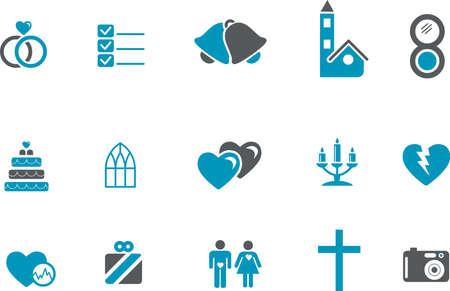 guests: Paquete de iconos - serie azul, colecci�n de boda de vectores