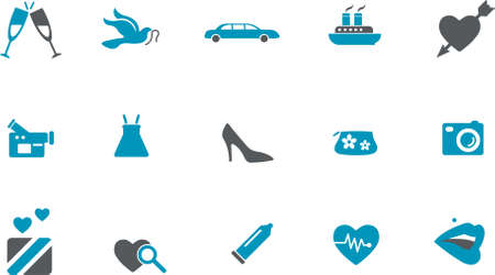 Vector icons pack - Blue Series, wedding collection