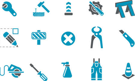 Vector icons pack - Blue Series, works collection Stock Vector - 5601355