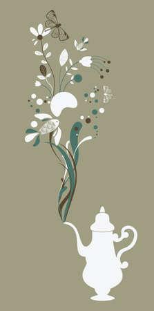 Tea pot on green background Vector