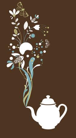 Tea pot on brown background Vector