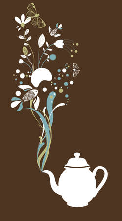 Tea pot on brown background Vector