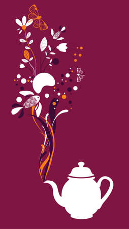 teatime: Tea pot on fuchsia background