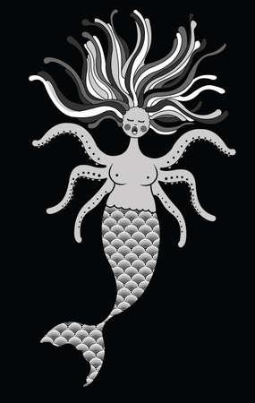 Sad mermaid into the ocean Vector