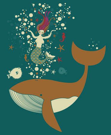 Mermaid and her whale Vector