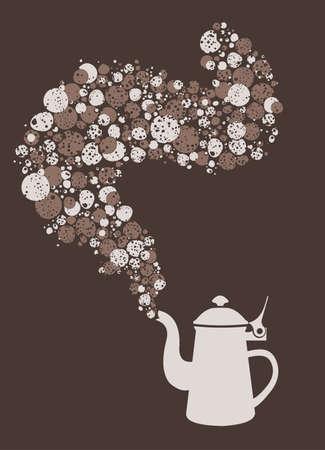 Tea pot fantasy with bubbles Vector