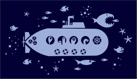 submarino: Submarin en el oc�ano rodeado de peces