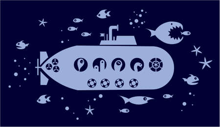 surrounded: Submarin in mare circondato da pesci Vettoriali