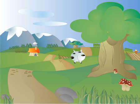 Nice farm land with nature, trees and mountains Stock Vector - 6381054