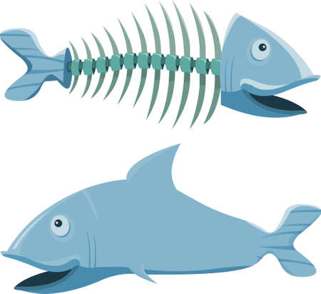 killer: Fish with his fishbone, on white background Illustration