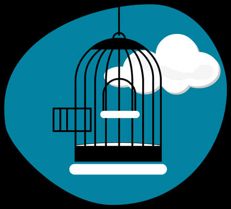 confined: Opened cage on a cloudy landscape Illustration