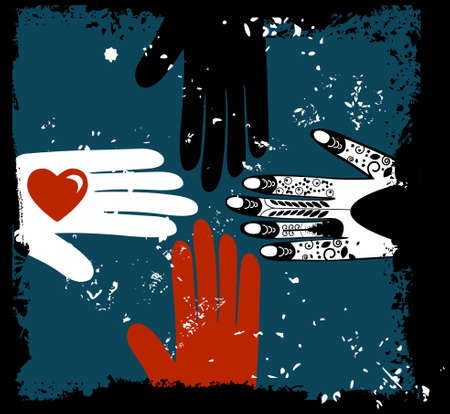 community help: Love and help among different cultures Illustration