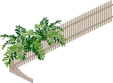 stockade:  model of fence, on white background