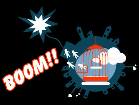 Opened cage with escaping men form a blowing world Stock Vector - 6381120