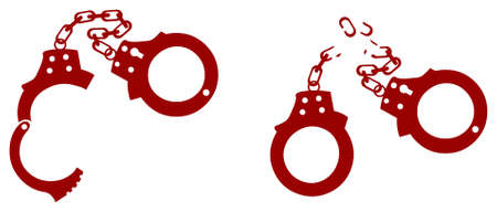 Opened handcuffs and broken handcuffs Stock Vector - 6381116