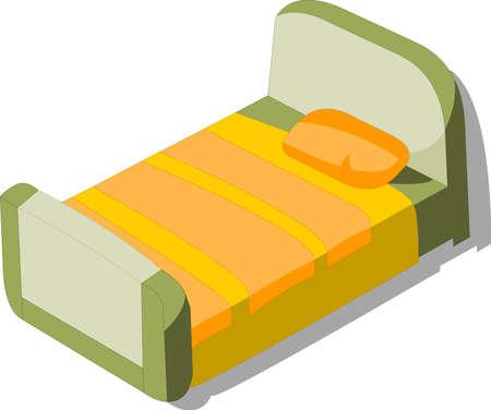 model of bed, on white background Illustration