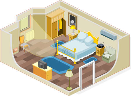 estrofa: Muebles y objetos que se utiliza generalmente en un dormitorio Vectores