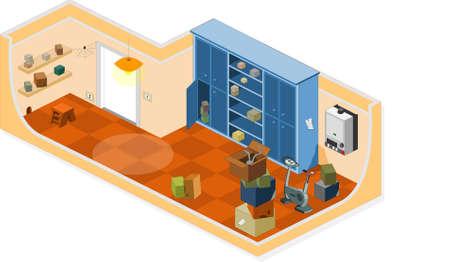 lejia: Muebles y objetos que se utiliza generalmente en una bodega Vectores