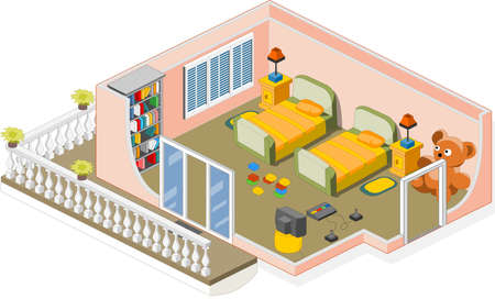 Furniture and objects generally used in a children room Vector