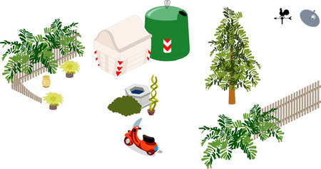 Elements and objects of a garden Illustration