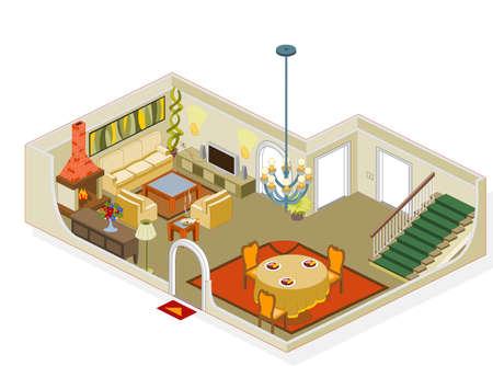 furnishing: Meubels en objecten in het algemeen gebruikt in een huis kamer