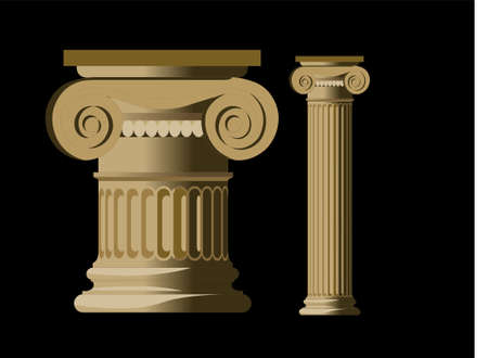 pillar: Detailed column of a greek temple Illustration