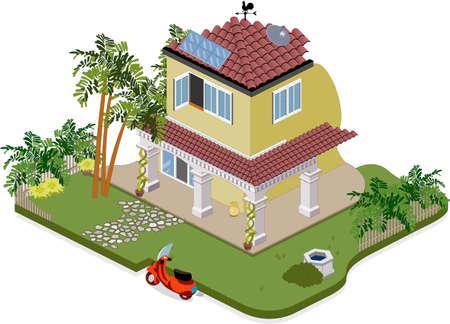 Belle maison avec des arbres et jardin