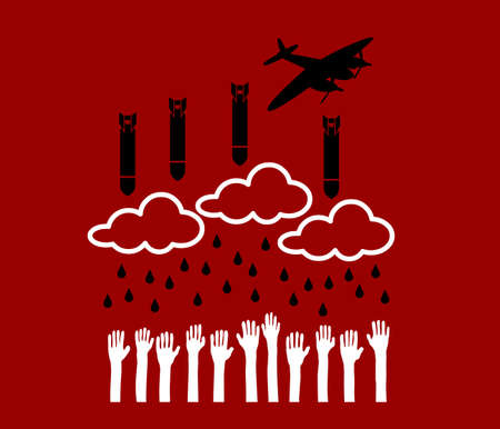 helpless: Airplane pull down bombs over helpless people Illustration