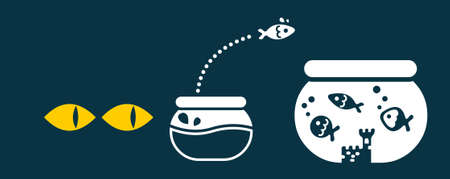 Un poisson déplacer vers un plus grand bol pour échapper aux prédateurs dangereuses Vecteurs