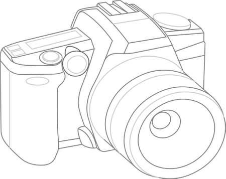 reflex camera: model of camera on white background