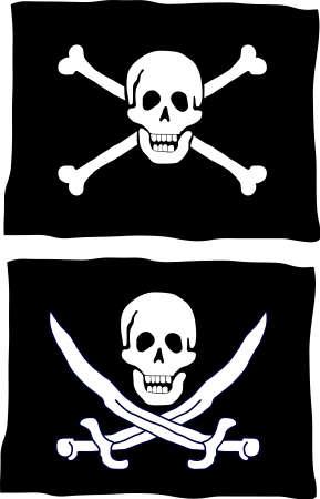 drapeau pirate: Deux sortes de pavillon pirate  Illustration