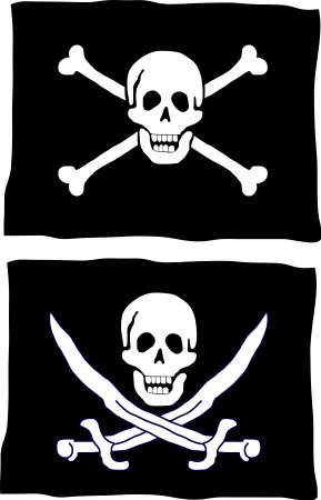 종류: Two different kind of pirate flag 일러스트