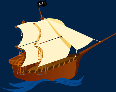 Galeon on blue background Vector