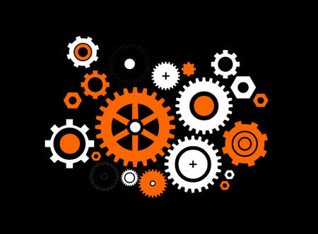 clock gears: Different kinds of gears on black background Illustration