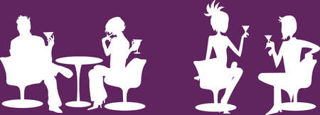saturday night: Couple of lovers on purple background Illustration