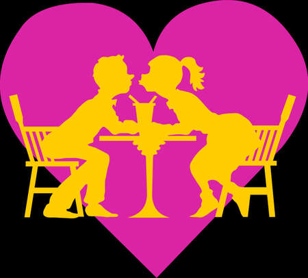 Two lovers in a pub, on a pink heart Stock Illustratie
