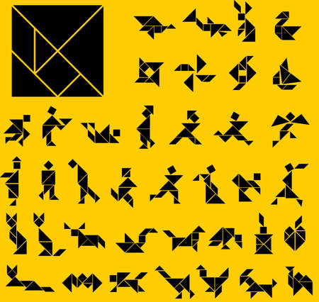 Tangram figures on yellow background