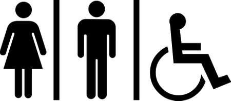 handicap: toilette segni su sfondo bianco
