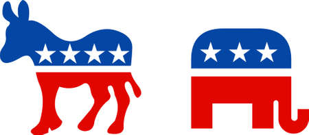 Political symbol of republican elephant and democratic donkey