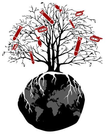 bombing: Guerra y ra�ces de �rboles en un mundo violento Vectores