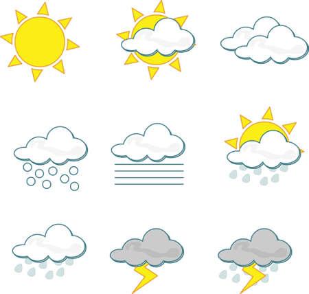 rainy sky: Iconos de tiempo sobre fondo blanco