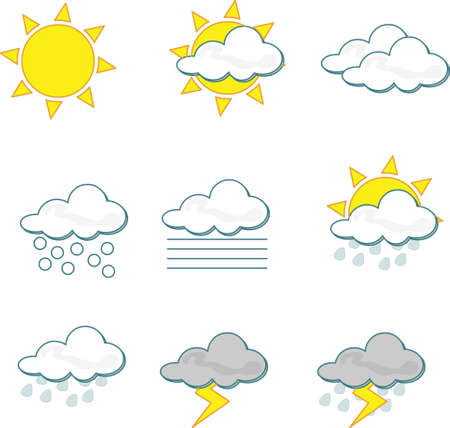 Wheather icons on white background Illustration