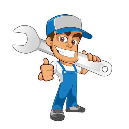 Mechanic Vector - Vector Cartoon of Mechanic Mascot Showing Thumb Up