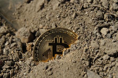 golden bitcoin coin covered in clay Stok Fotoğraf