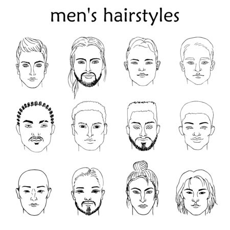 Hand-drawn sketching of black and white males portraits of different races with different hairstyles.