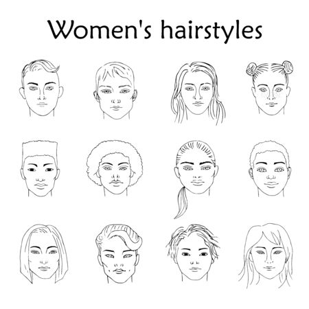 Hand-drawn sketching of black and white females portraits of different races with different hairstyles.