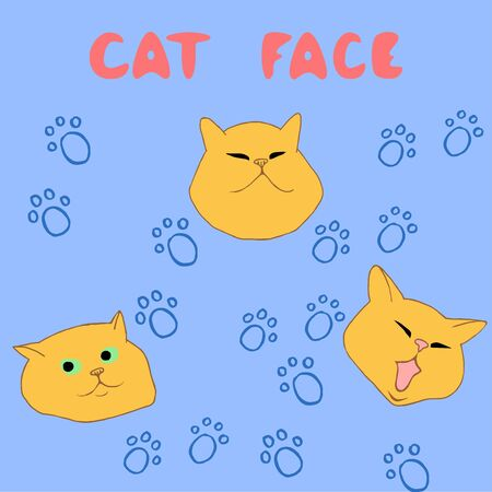 Vector set of three heads heads breed Scottish Shorthair. The first cat squinted, suspiciously and the third yawns. On a light blue background traces of cat paws. Cartoon style.  イラスト・ベクター素材