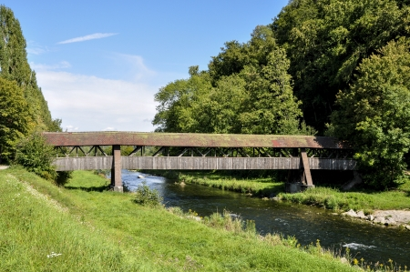 Tiengen,  Baden Wurttenberg, Germany,  wooden bridge over the Wutach river photo